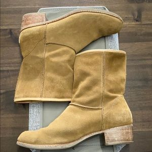 UGG sheepskin and leather tan booties. Used.